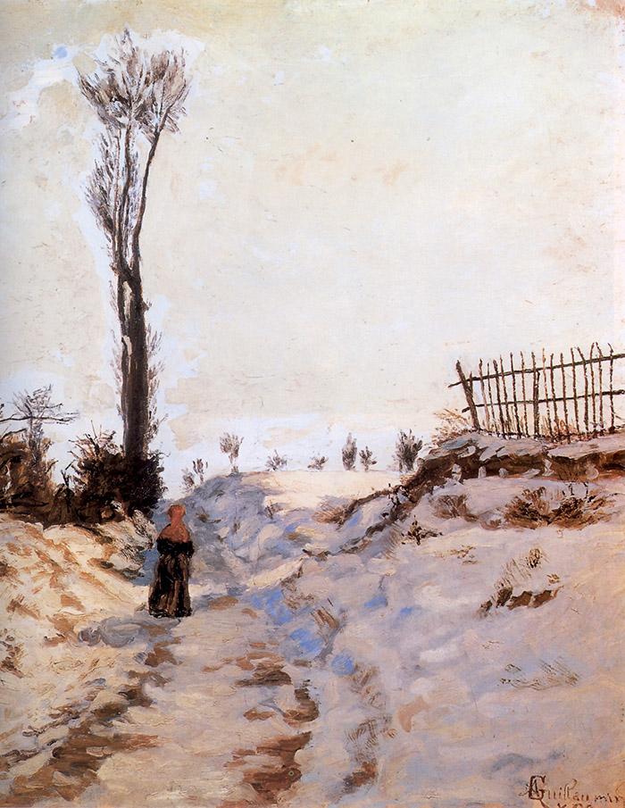 """Armand Guillaumin, Sentiero nella neve, 1869. All'opera del pittore francese - il più povero di tutti gli Impressionisti, poi """"miracolato"""" da una clamorosa vincita alla lotteria -, abbiamo affidato il compito di corredare iconograficamente questo servizio"""