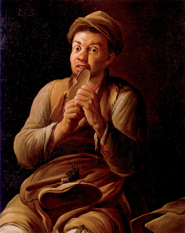 Antonio Cifrondi, Il ciabattino, 1720-30 circa, P. Tosio Martinengo. L'opera percorre, se pur tardivamente, il filone della pittura di genere legata ad una matrice letteraria. Da sottolineare l'espressione comico-grottesca del povero lavoratore