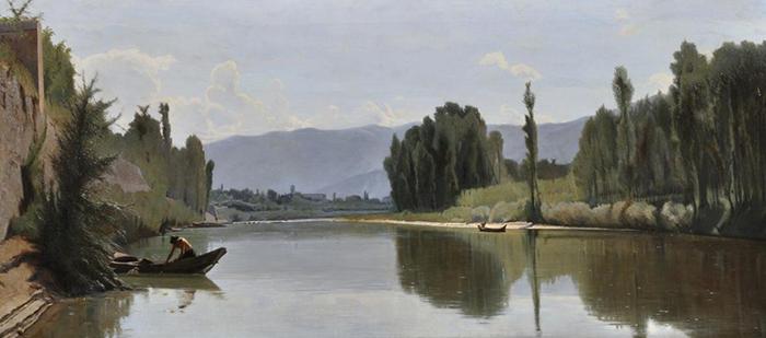 Odoardo Borrani, L'Arno a Varlungo, 1868, olio su tela, cm 73x160