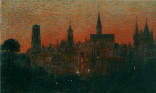 Gabriel Biessy (1854 - 1935), Cielo rosso, 1915 ca. olio su tela