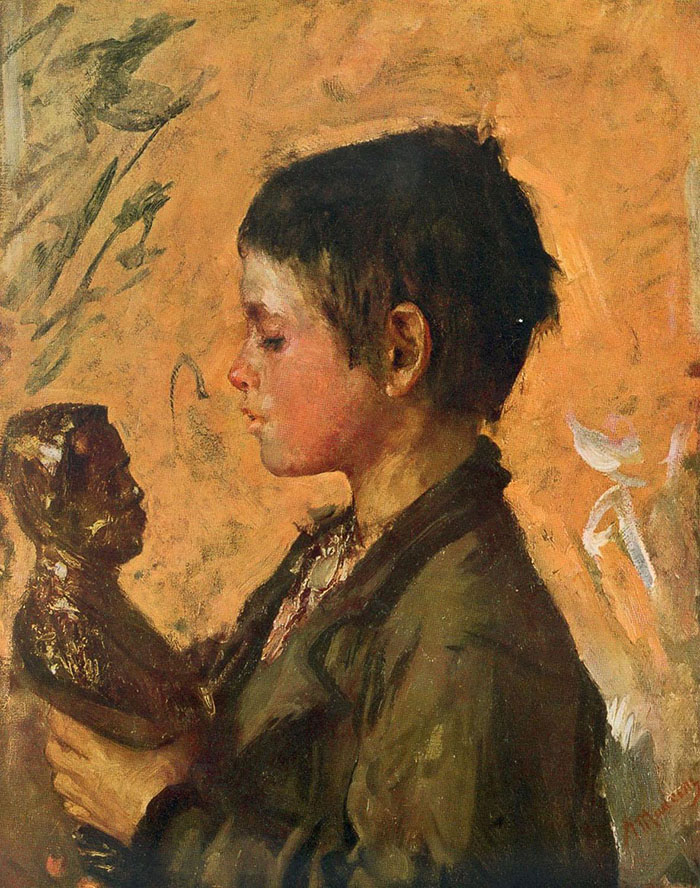 Antonio Mancini, Monello napoletano che osserva un busto di Re Umberto, 1880-1885 ca., olio su tela, cm 62x50