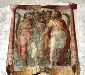 L'affresco che raffigura i Quattro Santi coronati, nell'omonima basilica romana