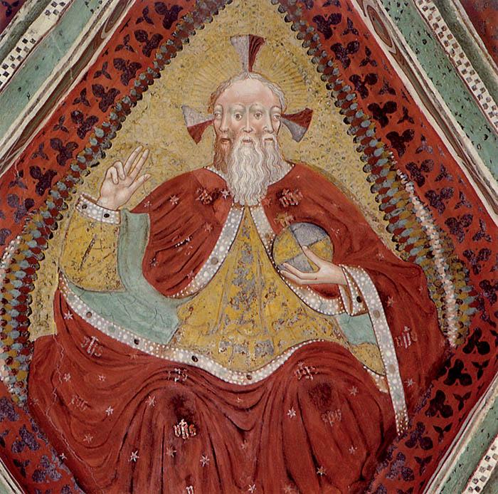 """Scuola di Leonardo da Brescia,  Cristo """"triforme"""", 1542 circa. Vigo di Fassa (Trento), chiesa di santa Giuliana"""