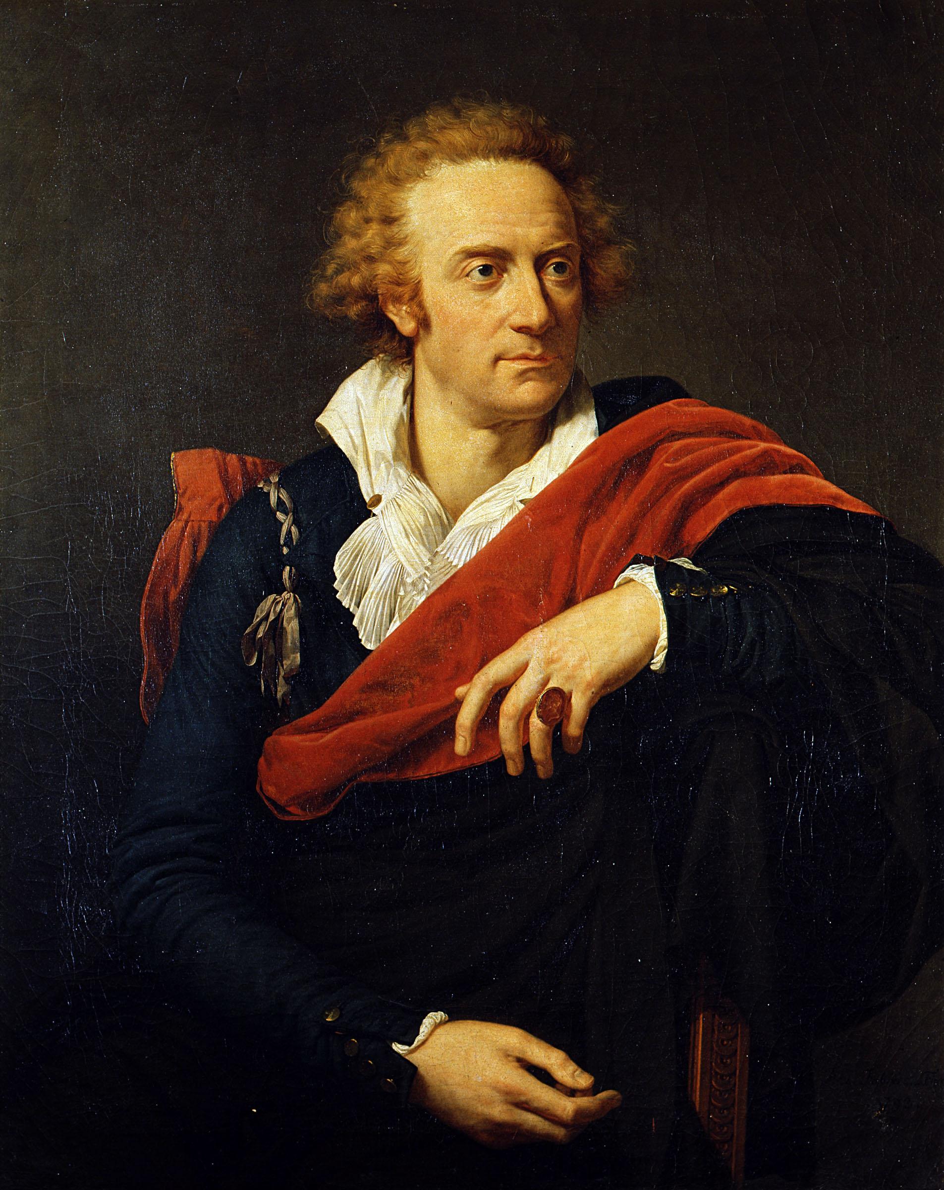 FRANCOIS-XAVIER FABRE (Montpellier 1766 – 1837); sonetto alfieriano 1793; olio su tela s.c. 93 x 73 cm c.c. 111,5 x 91,5 x 9 cm (sp.) Galleria degli Uffizi