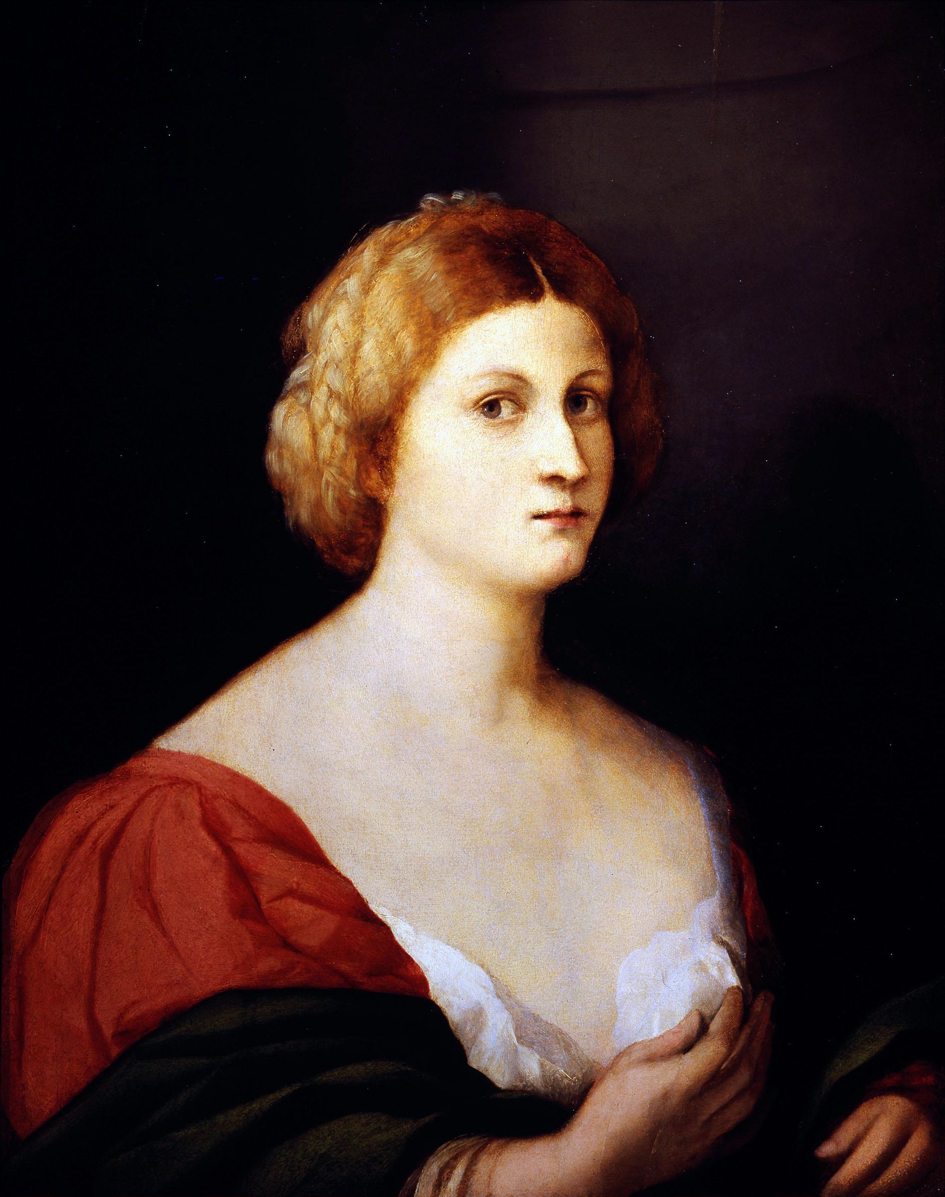 ACOPO PALMA IL VECCHIO (Serina 1480 - Venezia 1528) Recto: Ritratto di donna 1515 circa Inv. 1890 n. 10094 Olio su tavola s.c. 67 x 54 cm c.c. 70 x 56,5 cm Galleria degli Uffizi
