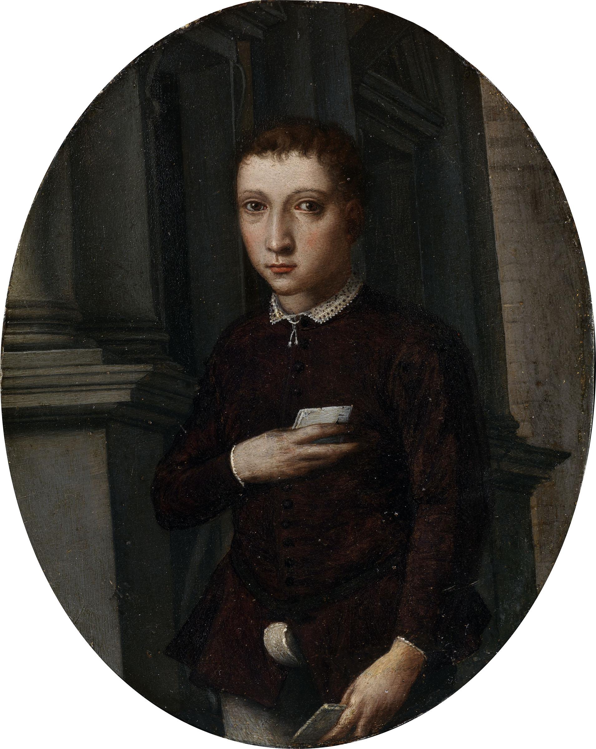 cuola di Bronzino Ritratto di Francesco I de' Medici o Piero de' Medici sec. XVI (1560 ca.) olio su stagno, 15,9 x 12,5 cm Galleria degli Uffizi, Inv. 1890 n. 4040