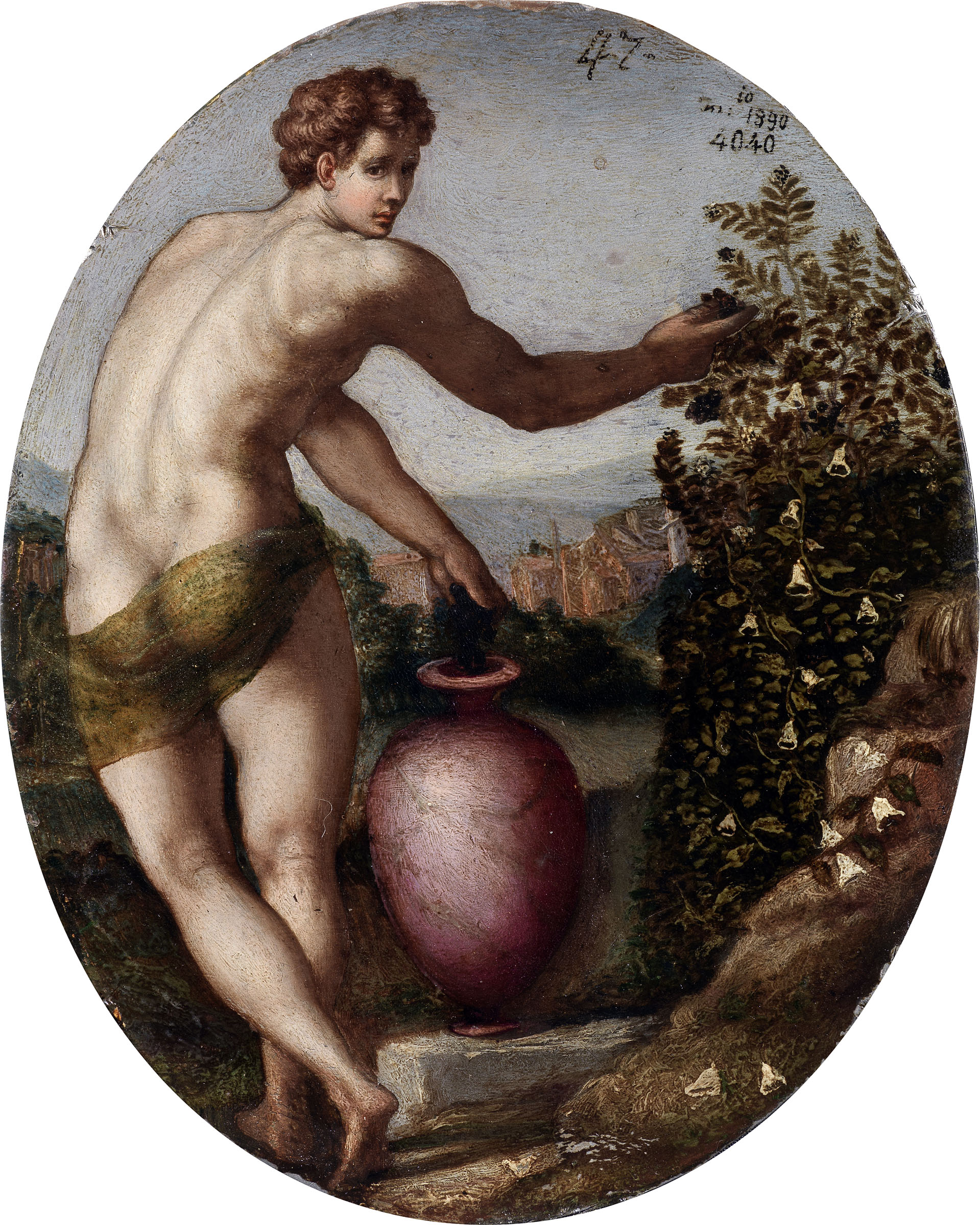 Scuola di Bronzino, verso del Ritratto di Francesco I de' Medici o Piero de' Medici sec. XVI (1560 ca.) olio su stagno, 15,9 x 12,5 cm Galleria degli Uffizi, Inv. 1890 n. 4040