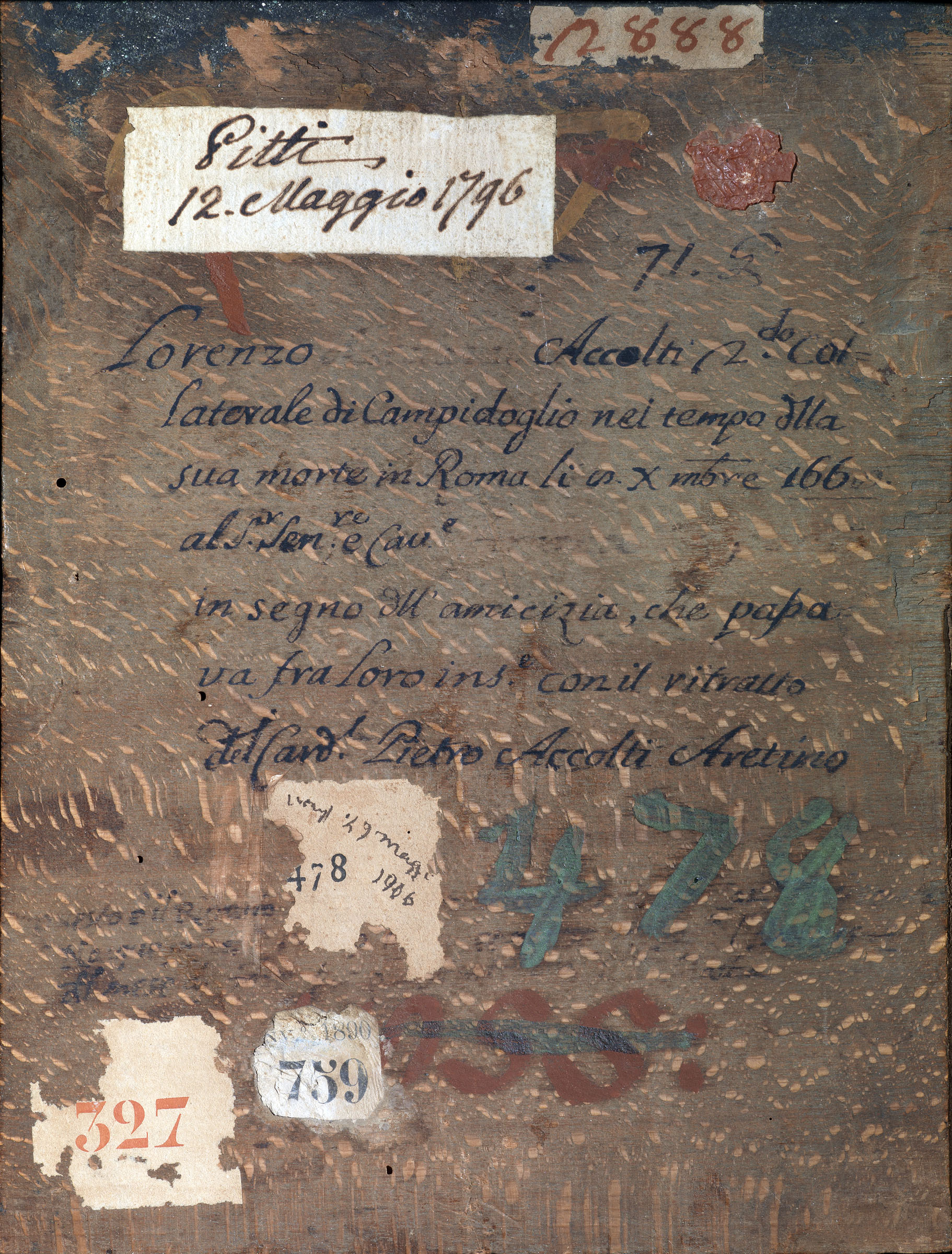Peruzzi Baldassarre (Ancaiano 1481 – Roma 1536) Verso del Ritratto del card. Pietro Accolti Olio su tavola, 26 x 19 cm Galleria degli Uffizi, Inv. 1890 n. 759