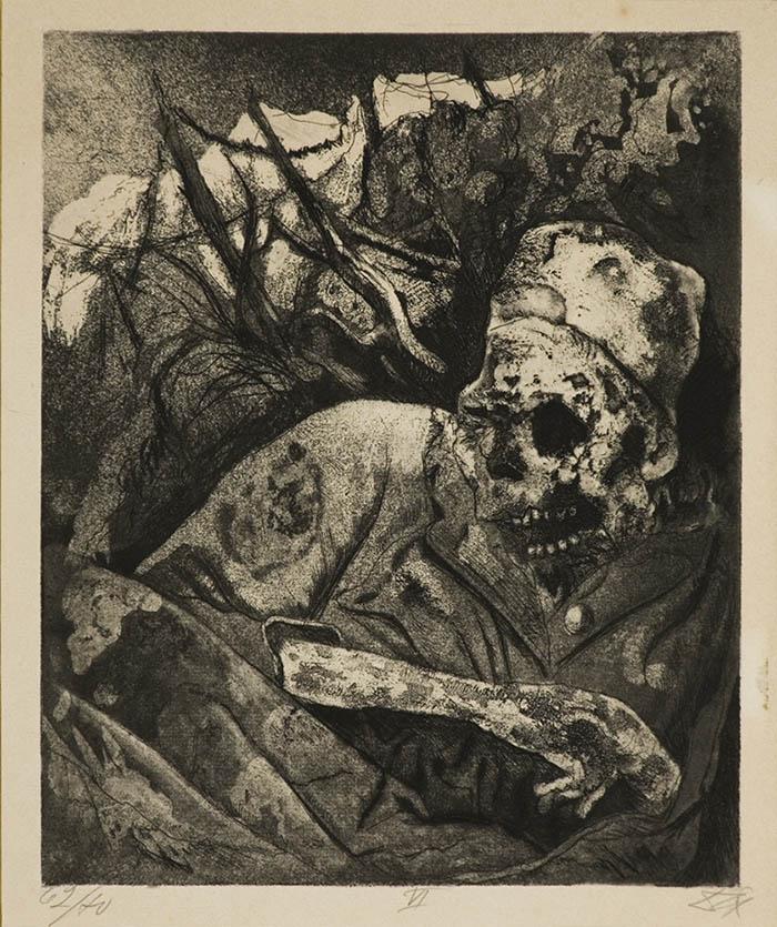 Otto Dix-Cadavere sul filo spinato-Fiandre-1924-acquaforte-cm30x24,3