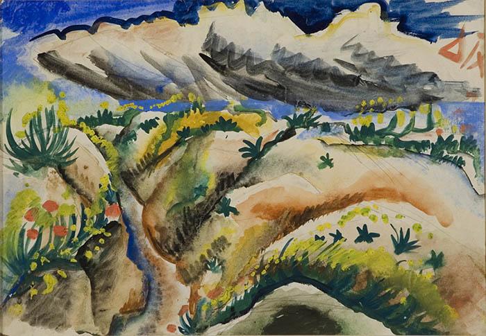 Otto Dix-Schutzengraben in der Champagne-1916-acquarello-cm20,4x28,8
