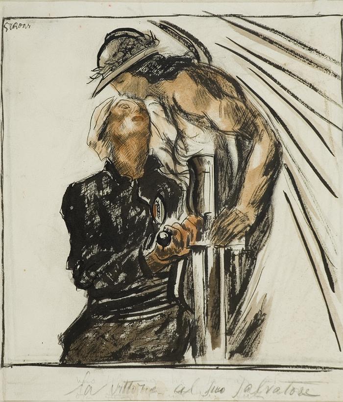 Mario Sironi-La Vittoria col suo salvatore-1924-cm 34,4x32-