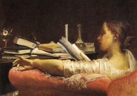 F.FARUFFINI, LA lettrice o Clara, 1864-65, olio su tela, cm 40,5 x 59, Milano, Galleria d'Arte Moderna