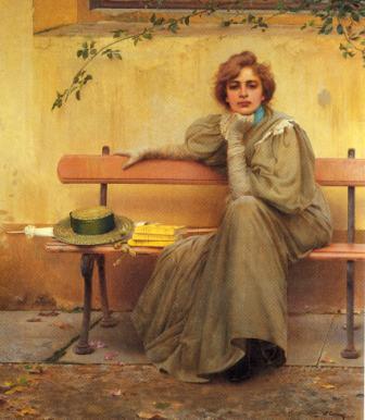 V.CORCOS, Sogni, 1896, olio su tela, cm 160 x 135, Roma, Galleria nazionale di arte moderna e contemporanea
