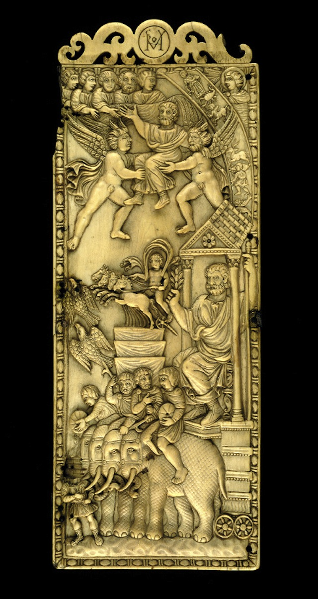 Carved ivory leaf from a diptych, Rome, 402 AD