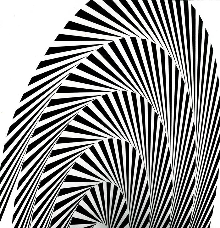 Franco Grignani: Proiezione strutturata, olio si tela 96x96, 1965