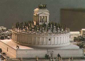 La ricostruzione del mausoleo di Adriano, poi trasformato in Castel Sant'Angelo