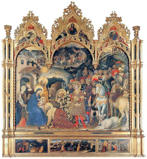 """L'Adorazione dei Magi (o Pala Strozzi) è un dipinto a tempera e oro su tavola (173x228 cm con cornice 303x282) di Gentile da Fabriano, datato 1423 e conservato agli Uffizi di Firenze. L'opera è stata firmata sopra la predella: """"OPVS GENTILIS DE FRABRIANO M CCCC XX III MENSIS MAIJ"""". Capolavoro dell'artista e del Gotico internazionale in Italia in generale, conserva l'elaborata cornice scolpita in legno dorato, in larga parte originale."""
