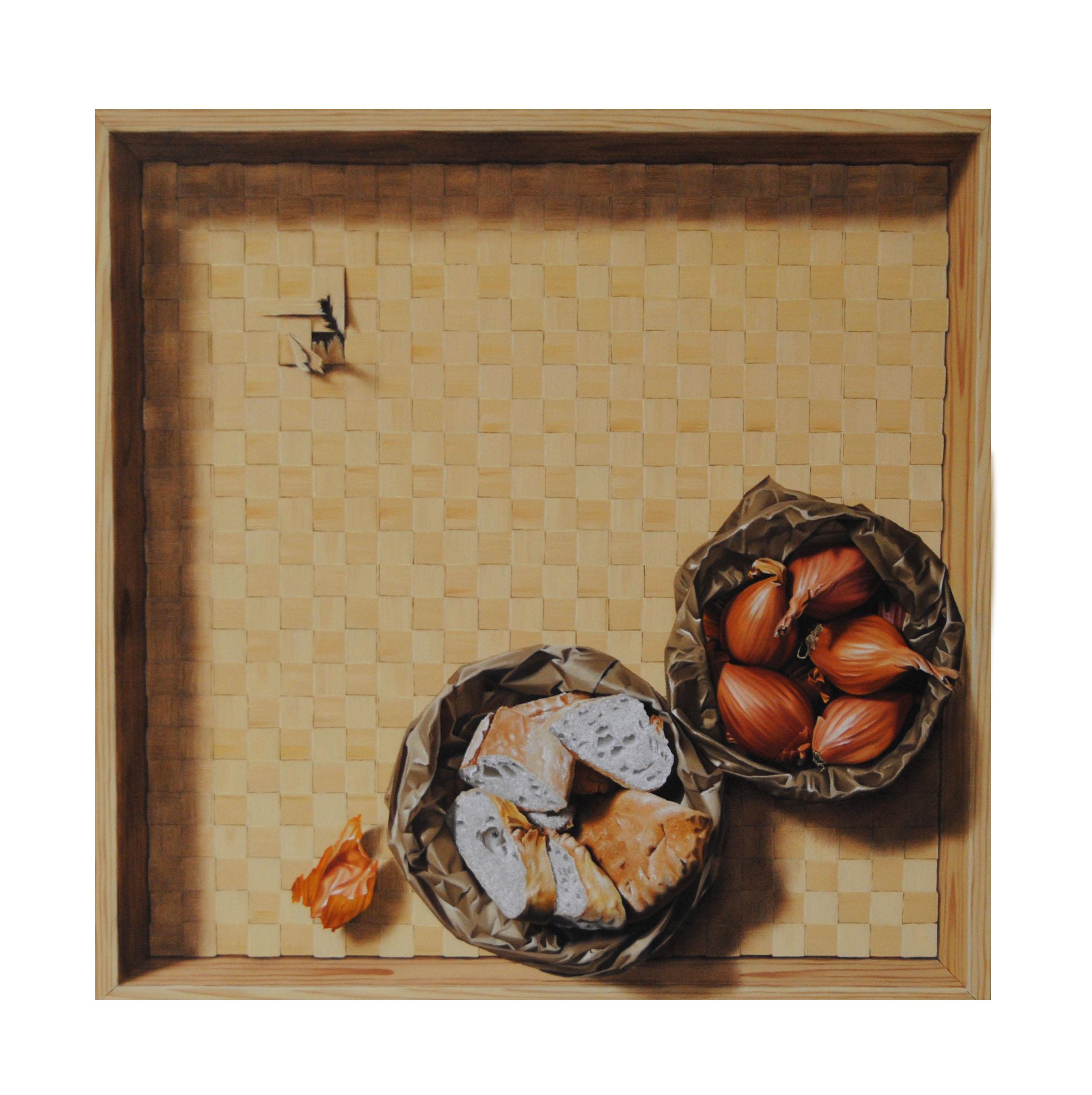 M. FASOLI, Japanese Whispers, 2013, olio su tela applicata su struttura in mdf, cm 55 x 55 x 10