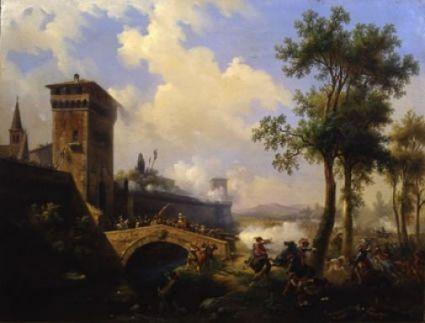 Massimo D'Azeglio ha dipinto numerosi paesaggi con scene storiche, come questo