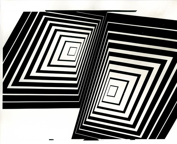 Franco Grignani: Tensione nei quadrati, Tempera 103x75, 1965