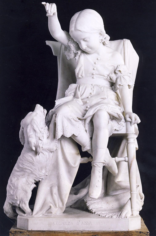 V. VELA, Ritratto di Leopoldina d'Adda, 1852-1854, marmo, cm 105 x 70 x 70, collezione privata