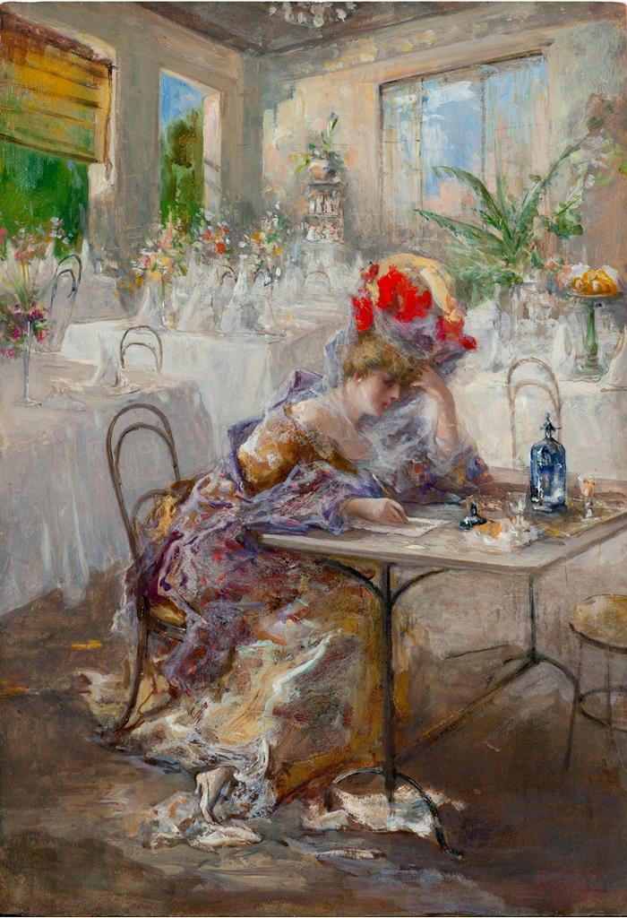 Pompeo Mariani, La lettera (o Signora al Caffè), 1908, Olio su cartone, 49 x 34 cm
