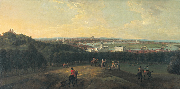Peter Tillemans London from Greenwich Park, 1718 olio su tela, cm 57x117 Londra, Bank of England Museum Governor and Company of the Bank of England