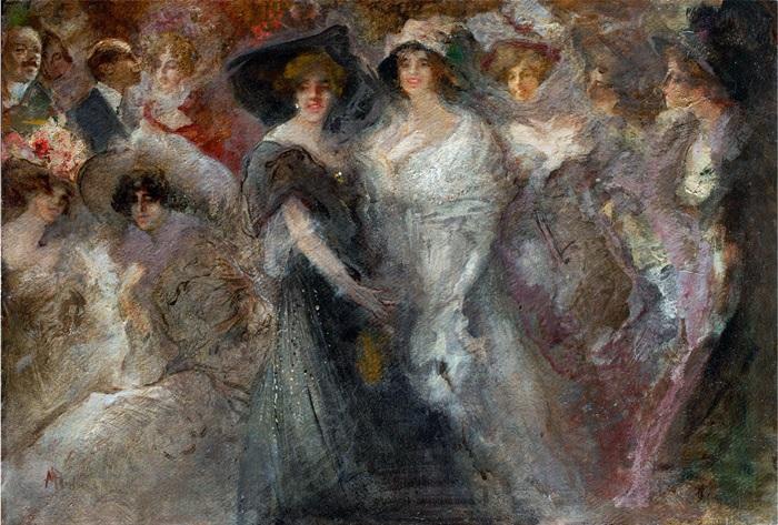 Pompeo Mariani, Le perdute a Montecarlo, 1909 circa, Olio su cartone, 49 x 70 cm
