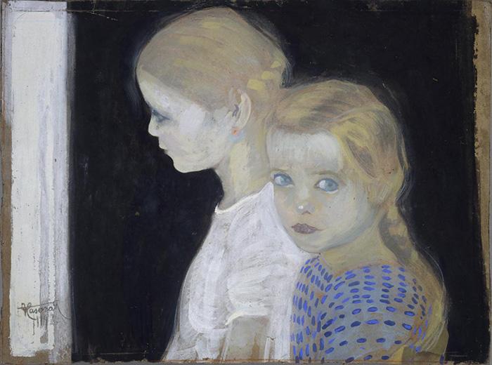 Felice Casorati: Le due bambine, 1912 . Tempera su cartone