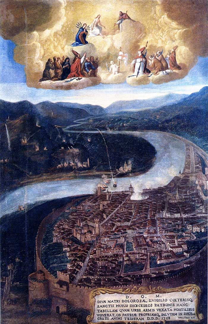 Bernardino Zambaiti Bombardamento di Trento, 1703 olio su tela, cm 172,5x113,7 Museo Diocesano Tridentino Trento, Archivio Fotografico del Museo Diocesano Tridentino