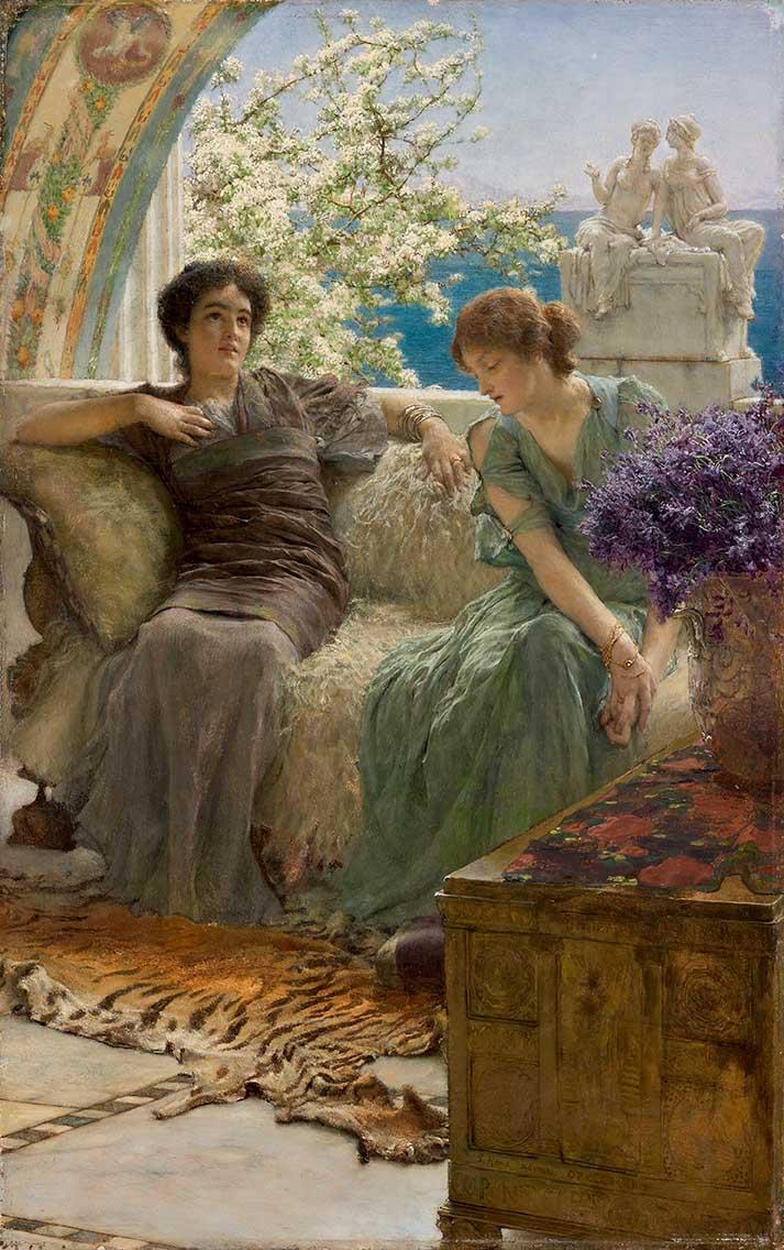 Alma Tadema Confidences inopportunes 1895  huile sur bois 10311 45,7 x 28,7 cm 70,5 x 54,8 x 11,3 cm Messico, Collezione Pérez Simón © Studio Sebert Photographes