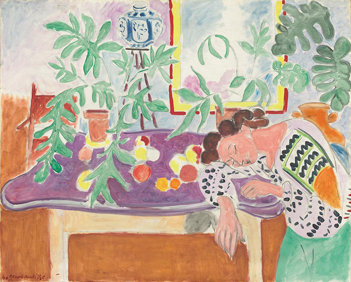 Henri Matisse: Natura morta con donna addormentata, 1940 Olio su tela, cm 82,5 x 100,7 Washington, National Gallery of Art. © Succession H. Matisse, by SIAE 2013