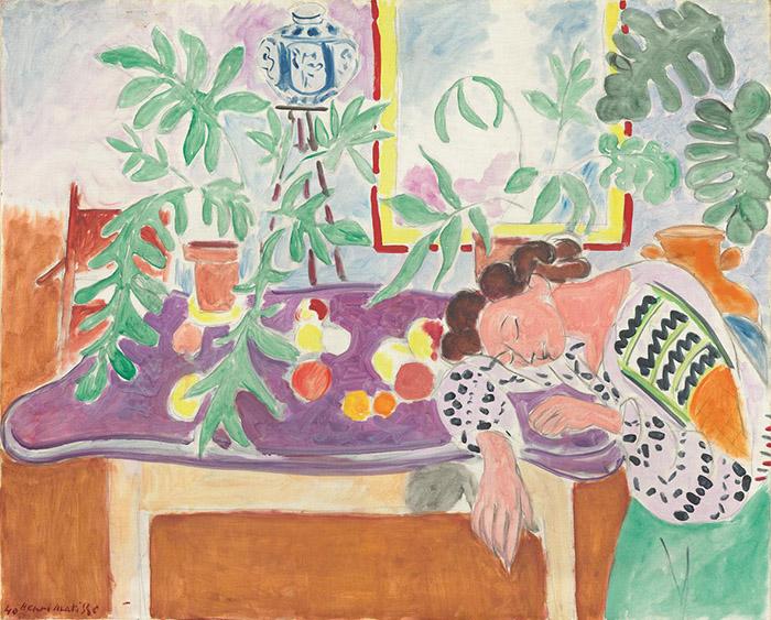 Henri Matisse: Natura morta con donna addormentata, 1940 Olio su tela, cm 82,5 x 100,7 Washington, National Gallery of Art. © Succession H. Matisse, by SIAE 2013