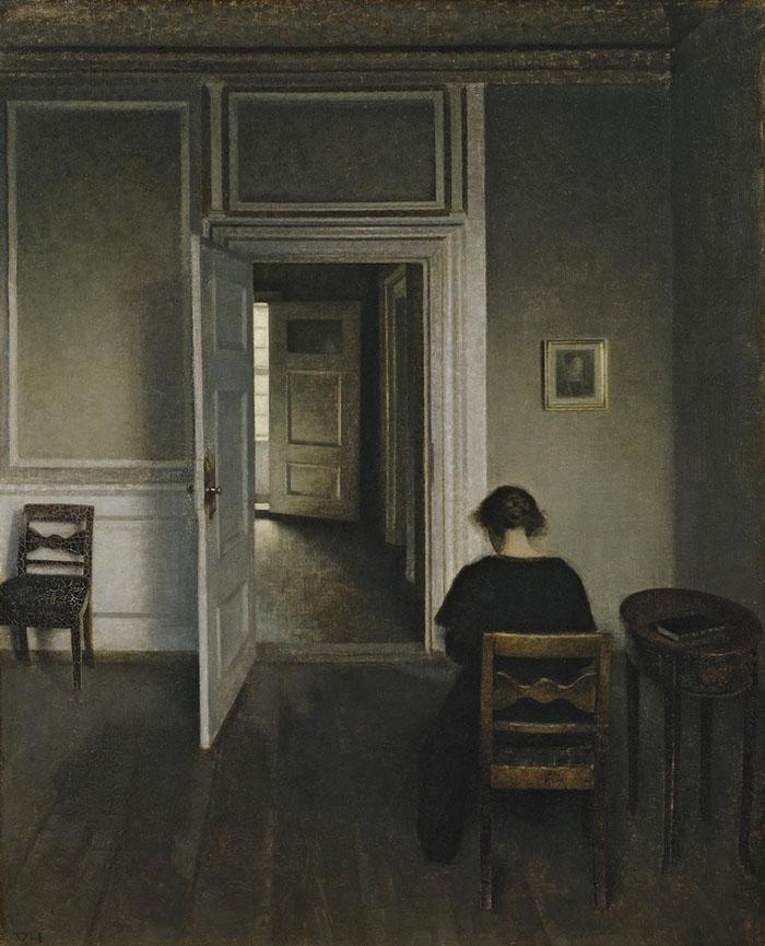 Vilhelm Hammershøi: Interiør med siddende kvinde, 1908. Olio su tela