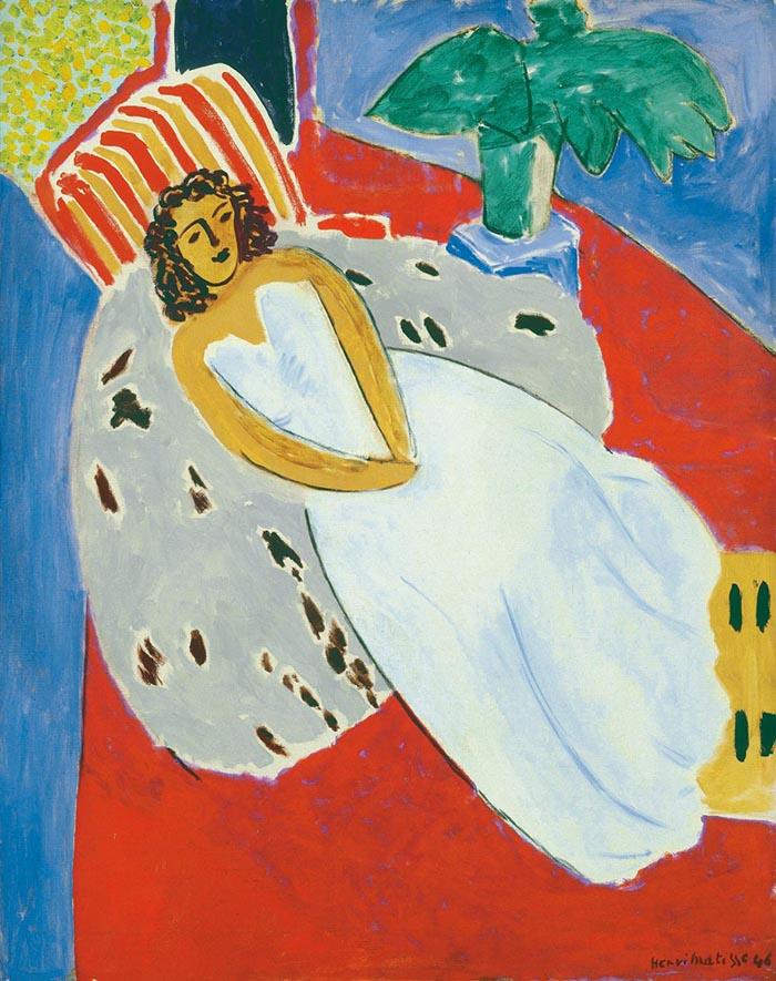 Henri Matisse: Giovane donna in bianco, sfondo rosso, 1946 Olio su tela, cm 92 x 73. Lione, Musée des Beaux-Arts. © Succession H. Matisse, by SIAE 2013
