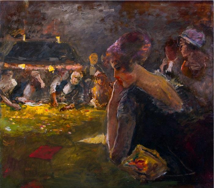 Pompeo Mariani, Al tavolo verde, 1916, Olio su carta applicata su tela, 88 x 100 cm