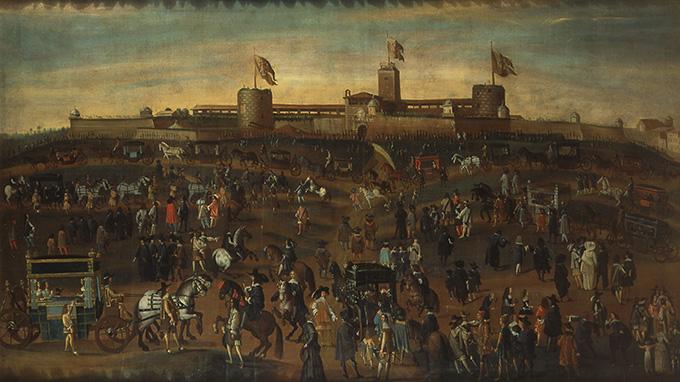 Il Sebastianone Veduta nei pressi del Castello di Milano, metà sec. XVII olio su tela cm 114x202 Milano, Palazzo Morando Costume Moda Immagine