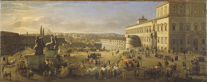 Gaspar Van Wittel Roma, la piazza del Quirinale, 1684 olio su tela cm 50x122 Roma, Galleria Nazionale d'Arte Antica di Palazzo Barberini