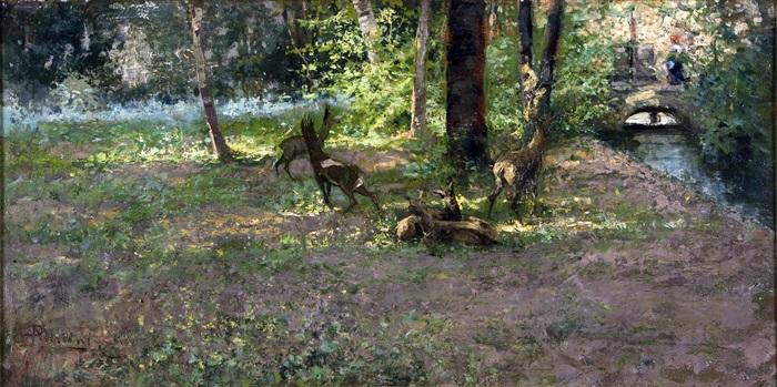 Pompeo Mariani, Parco di Monza, rumore nel bosco, Olio su tavola, 37 x 75 cm