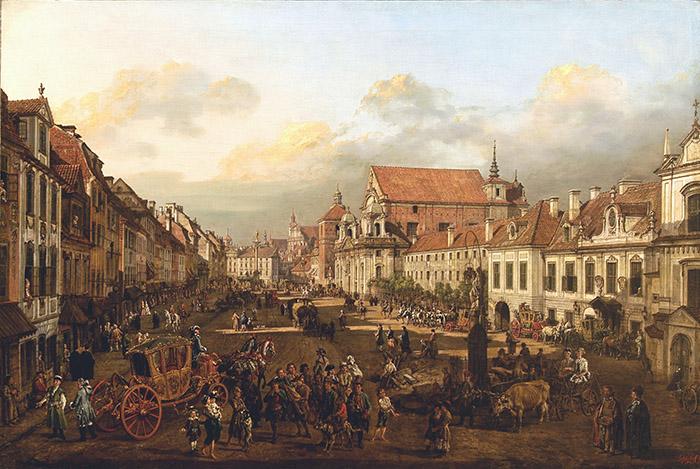 Bernardo Bellotto Vista di via Krakowskie Przedmiescie dalla colonna di Sigismondo III, 1774 olio su tela cm 115x170,5