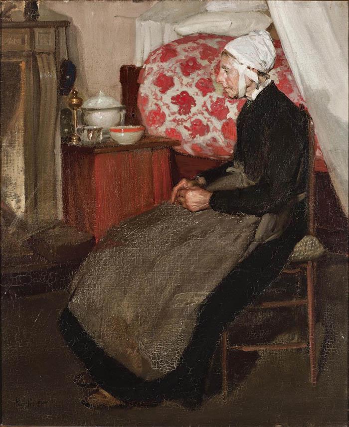Richard Edward Miller: Vecchia olandese, La vecchia. Olio su tela