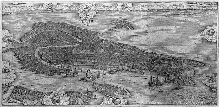 Jacopo de' Barbari Venetie MD, 1500 Xilografia di primo stato, 1345x2820 mm Venezia, Gabinetto di Cartografia del Museo Correr