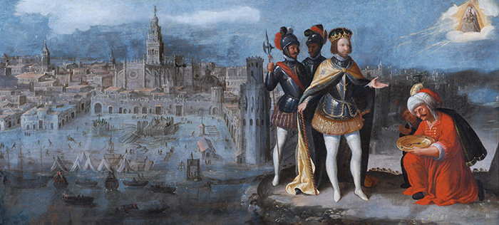 Francisco Pacheco Ferdinando III Re di Castiglia conquista Siviglia, 1625-1650 olio su tela cm 65x135 Durham, The Bowes Museum