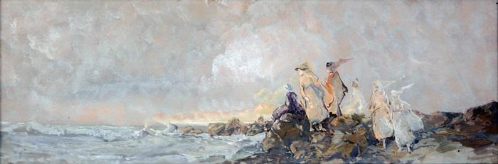 Pompeo Mariani, Inglesine sugli scogli, 1922, Olio su cartone, 19 x 53,5 cm