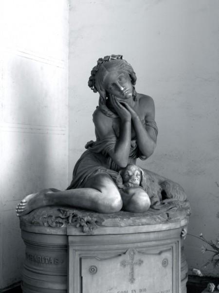 SANTO VARNI (1807-1885), Tomba di Giuditta Varni, 1875, Genova, Cimitero di Staglieno, Porticato superiore a levante (prima del restauro)