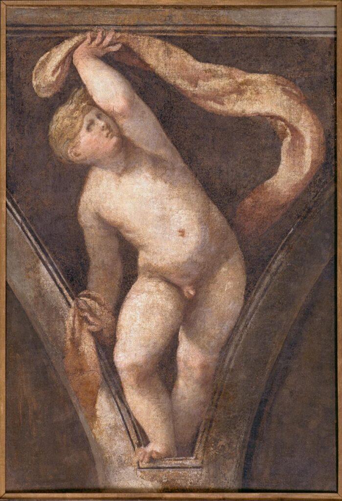 Giulio Campi, Putto decorativo (visto frontalmente), XVI secolo, affresco strappato e riportato su tela, cm 125x83, Museo Civico Ala Ponzone, Cremona