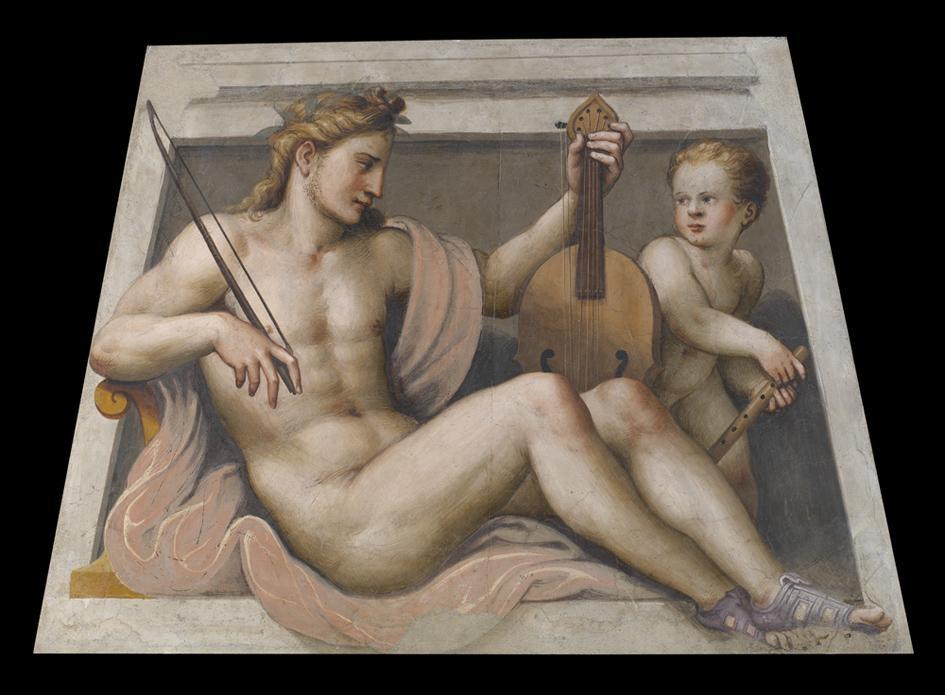 Lattanzio Gambara, Apollo con amorino, affresco, cm 155.5x108.5, Brescia, Pinacoteca Tosio Martinengo