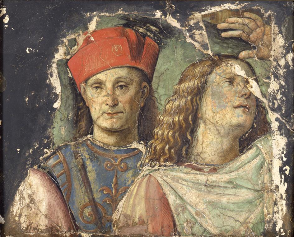 Francesco Raibolini detto il Francia, Due teste maschili, 1500 c, frammento di affresco staccato e inglobato nel gesso, cm 70x79.5x53, Bologna, Pinacoteca Nazionale