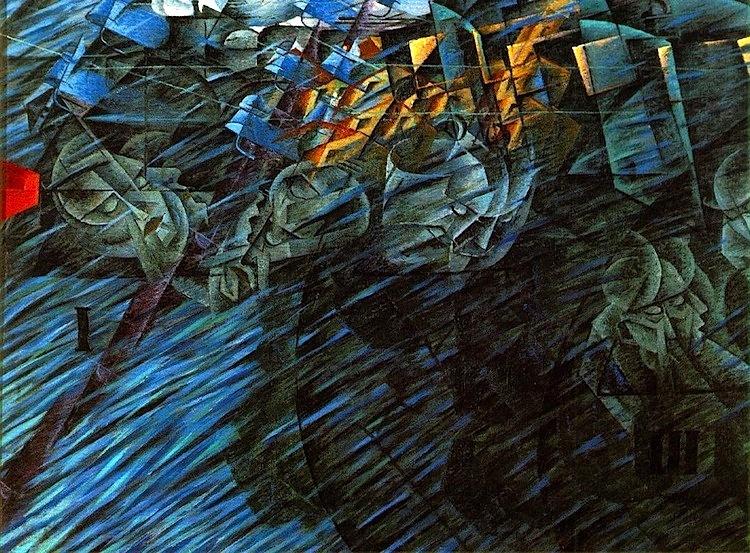 Umberto Boccioni, Stati d'animo, Quelli che vanno (seconda versione), 1911