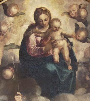 Felice Brusasorci (attribuito), Madonna con Gesù Bambino in gloria (particolare), 1570 circa